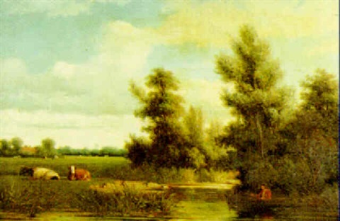 a river landscape with figure fishing from a boat cattle resting by the river an extensive view beyond by johannes jacobus jan heppener