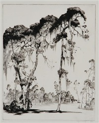 carolina pines (with moss) by alfred heber hutty