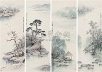 四季山水条屏 (four pieces of landscape) (in 4 parts) by ren daqing