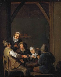 peasants drinking in an interior by adriaen verdoel