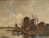 dutch windmills by a lake by cornelis martinnus vermeulen