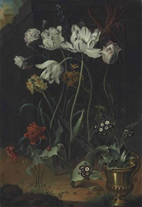 parrot tulips, narcissi, carnations and other flowers, with primroses in a bronze urn by coenraet (conrad) roepel