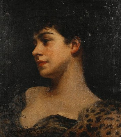 bust portrait of judy fox a bacchante by james carroll beckwith