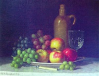 fruit on a plate with jug and wine glass by william henry snyder