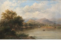 river landscape with castle beyond by mcneil macleay