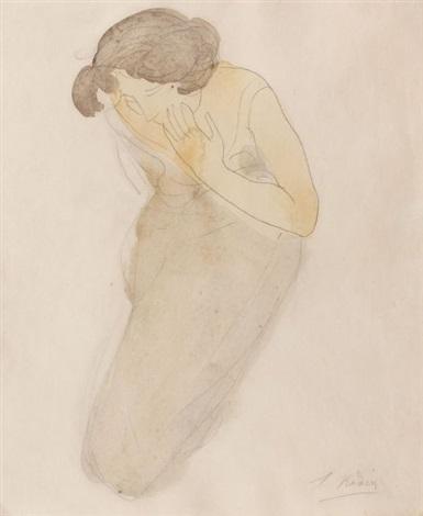 psyché femme agenouillée portant la main sur sa joue by auguste rodin