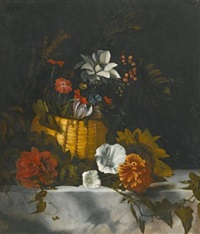 a still life of a basket of flowers on a large marble ledge by dirck de bray