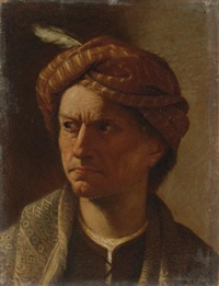 portrait of a man, head and shoulders, wearing a turban by pietro paolini