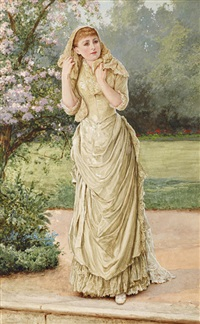 lady in a garden by a blossoming tree by edward killingworth johnson