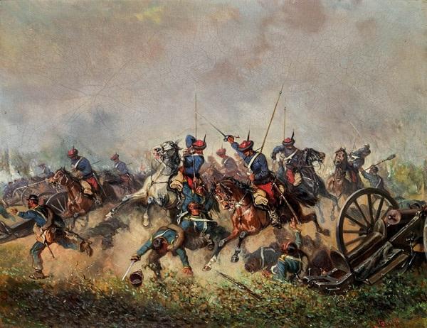 attacke der österreichischen trani ulanen in italien unter dem feldherrn erzherzog albrecht by alexander ritter von bensa