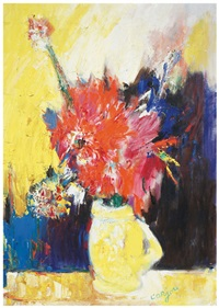 yellow vase with red flowers by bernard lorjou