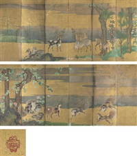 civets and goats (+ another; pair) by japanese school-kano (17)