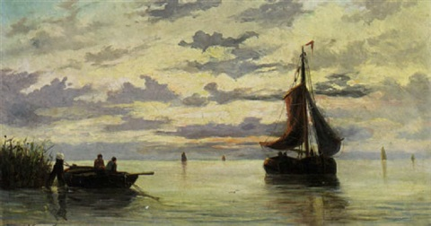 boats in an estuary by jacob willem gruyter