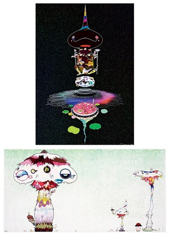 a二重螺旋逆轉-黑褐色 b菌絲將逐步襲捲世 reversed double helix black brown body hypha will cover the world little by little set of 2 by takashi murakami