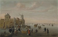 a winter landscape with horse-drawn sledges and figures skating on a frozen canal by a fortified town with a windmill by cornelis beelt