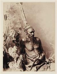 portrait d'aborigène avec coiffe by john william lindt