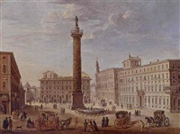 view of the piazza colonna by giacomo van (monsù studio) lint