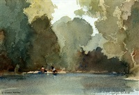 autumn evening on the baise near lavardac by william russell flint