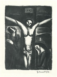 christ en croix by georges rouault