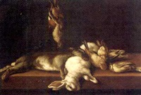 two dead hares and dead songbirds on a table by arcangelo resani