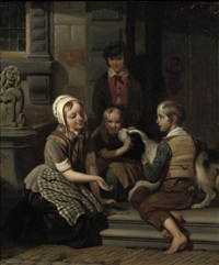 children playing in the street by johan philip koelman