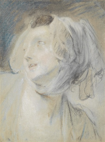 porträt einer jungen frau mit mütze nach links blickend by jean baptiste greuze