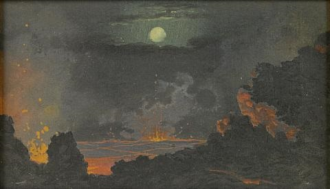 the heart of a volcano under a full moon by jules tavernier