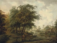 a wooded river landscape with travellers on a track, a shepherdess and her flock on a bank by philipp reinagle