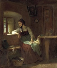junge bäuerin am stubenfenster by ludwig vollmar