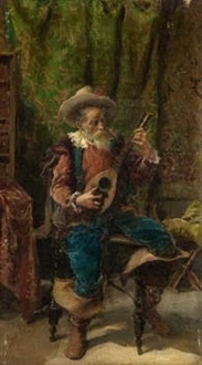 viejo tocando la bandurria by salvador martínez cubells