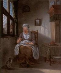 anciana cosiendo en un interior by albert funke