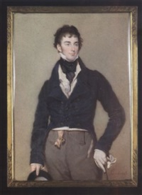 sir charles hugh lowther wearing blue tailcoat, cream waistcoat, frilled white chemise, grey trousers and black cravat held with red jewelled stickpin, a gold seal hangs from pink ribbon at his waist by jean antoine laurent