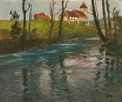 kirke ved elven by frits thaulow