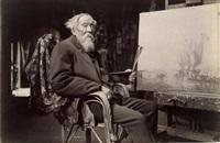 félix ziem, peintre dans son atelier de la rue lepic, le 7 novembre by paul marsan dornac