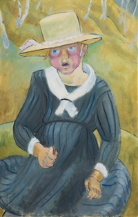child with straw hat by gretel haas-gerber
