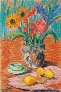 still life with flowers in a vase, lemons and a tea cup by willy davidson