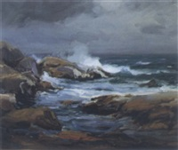 waves crashing against a rocky coast by a. m. fleming