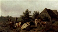 cows in a landscape by willem kooiman