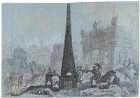 historische kampfszene vor den kolonnaden am spittelmarkt in berlin by peter anton von verschaffelt