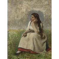 jeune fille pensive by jules breton