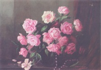 roses in a bowl with a necklace on a table by flora g. udvardy