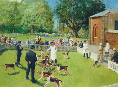 the puppy show wynnstay by terence cuneo