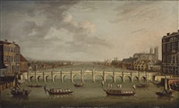a view of the thames, london, with westminster bridge and the abbey and palace of westminster beyond by samuel scott