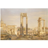 a view of the roman forum, with oxen and carts in the middle ground by salomon corrodi