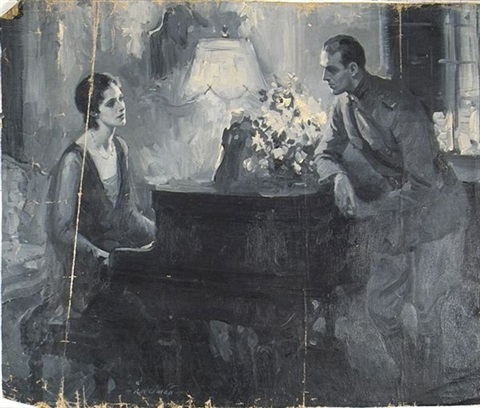 woman at piano speaking to soldier by walter g ratterman
