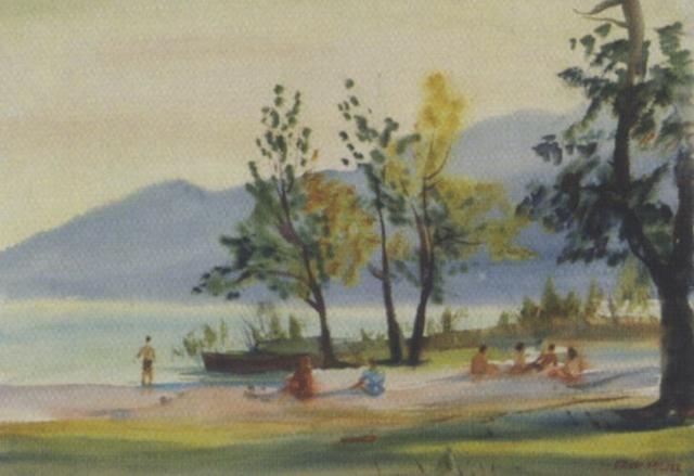 ossiacher see badende by erich miller von hauenfels