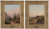 view of an italian city from a high vista; figure on an alpine path (pair) by guido agostini