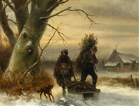figures with a dog on the ice by jan geerard smits