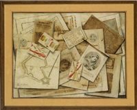 trompe l'oeil of dutch topographical prints and other printed material arranged on a pine plank by barthelemy de la rocque
