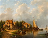a river scene with a fishing village by adrianus david hilleveld